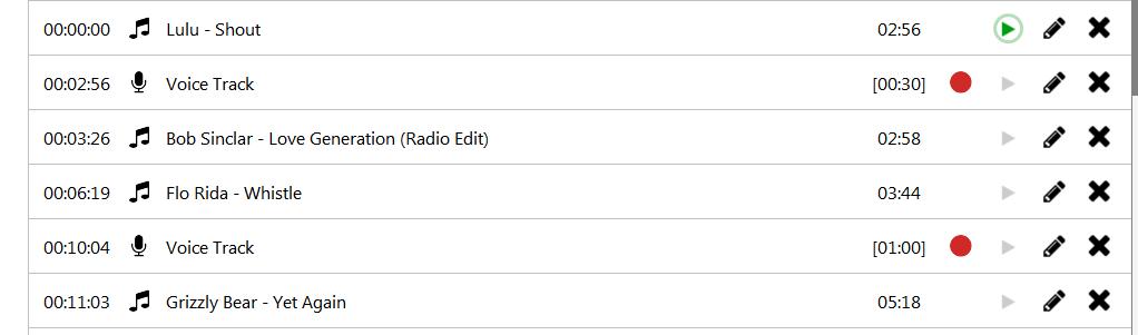 radio voice playliste